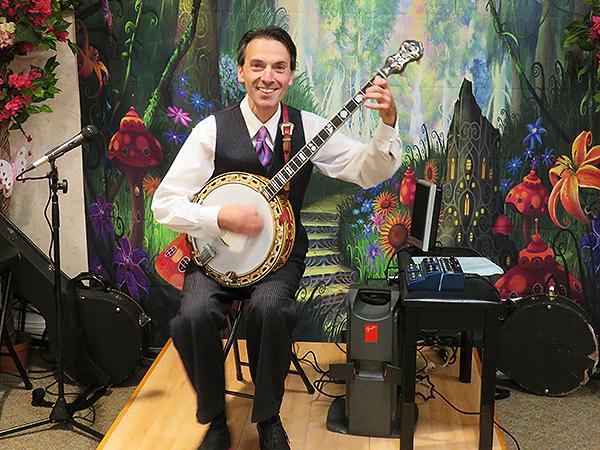 Peter Mezoian Playing Banjo at 32 Anniversary Party