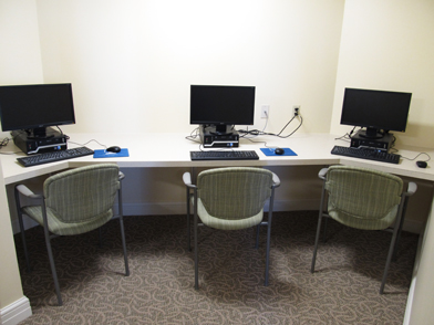 The new Media Room offers three computers with internet access and a state-of-the-art video magnifier for our low-vision residents.