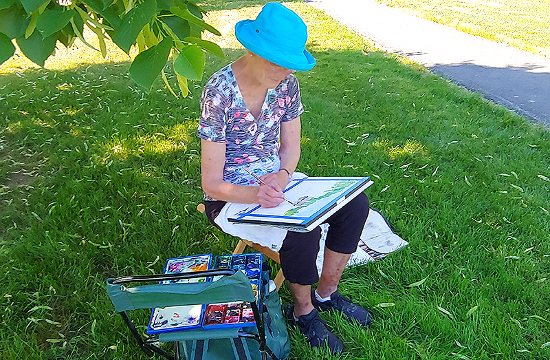 OceanView Resident Lee Painting Outside